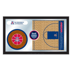 "Holland Bar Stool - Holland Bar Stool Arizona Basketball Mirror - Arizona Basketball Mirror belongs to College Collection by Holland Bar Stool The perfect way to show your school pride, our basketball Mirror displays your school's symbols with a style that fits any setting.  With it's simple but elegant design, colors burst through the 1/8"" thick glass and are highlighted by the mirrored accents.  Framed with a black, 1 1/4 wrapped wood frame with saw tooth hangers, this 15""(H) x 26""(W) mirror is ideal for your office, garage, or any room of the house.  Whether purchasing as a gift for a recent grad, sports superfan, or for yourself, you can take satisfaction knowing you're buying a mirror that is proudly Made in the USA by Holland Bar Stool Company, Holland, MI.   Mirror (1)"