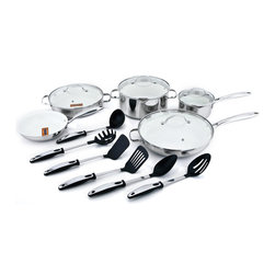 Kevin Dundon - Kevin Dundon Signature 15 Piece Non Stick Cookware Set, Marshmallow - 15 Piece Set Includes: