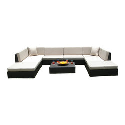 MangoHome - Outdoor Patio Sofa Sectional Wicker Furniture 9pc Resin Couch Set - Outdoor Patio Sofa Sectional Wicker Furniture 9pc Resin Couch Set