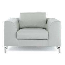 Modern Gray Leather Arm Chair Angie - Lounge chair Angie features Comfortable and gorgeous modern design. It is upholstered in top grain Italian leather and has chromed stainless steel legs that provide sturdy support.