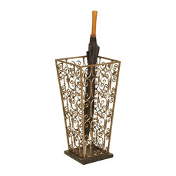 Passport - Antique Umbrella Stand in Copper Finish - Umbrella not included. Curly Q metal design. Black marble base. Metal bottom will not rust. Holds up to ten umbrellas. Six months warranty. No assembly required. 9.75 in. W x 9.75 in. D x 21 in. H (22 lbs.)This metal umbrella stand is a beautiful and functional accent piece.