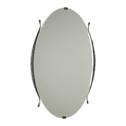 Form & Reform - Pan Mirror - Place this slim oval mirror on your dresser, and you won't be able to resist taking peeks. Hand-forged from hammered, textured steel, it has delicate, forged finials and beveled edges. Simple enough to blend with modern decor, yet stylish enough to work with the classics.