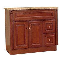 "JSI - JSI Newport Birch Bathroom Vanity Base Cherry 36"" Wood Frame, Right Hand Drawers - PLEASE NOTE: Sale is for vanity cabinet only - Faucet, top, and sink are not included."