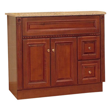 """JSI - JSI Newport Birch Bathroom Vanity Base Cherry 36"""" Wood Frame, Right Hand Drawers - PLEASE NOTE: Sale is for vanity cabinet only - Faucet, top, and sink are not included."""