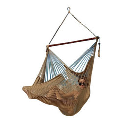 Jumbo Sized Tan Weather Resistant Rope Hammock Chair - Hammock chairs bring style and relaxation to any decor. This Jumbo sized tan rope hammock chair is hand woven from soft spun polyester. Unlike cotton chairs, they will not rot, mold or mildew, and should last you for years. Woven into the body is an extra long extendable footrest that enables the user to really stretch out. The tropical hardwood spreader bar s a full 47 inches wide giving ample shoulder room for any sized person, and has multiple coats of marine varnish to protect it from the elements. It has a maximum capacity of 275 pounds. This chair hangs easily from one suspension point that is 7.5ft or higher. NOTE: It does not come with stand or mounting hardware.