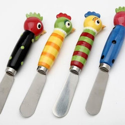 "ATD - Set of 4 Stripe and Polka Dot Giggle Feather Rooster Spreaders, 3 1/8"" - This gorgeous Set of 4 Stripe and Polka Dot Giggle Feather Rooster Spreaders, 3 1/8"" has the finest details and highest quality you will find anywhere! Set of 4 Stripe and Polka Dot Giggle Feather Rooster Spreaders, 3 1/8"" is truly remarkable."