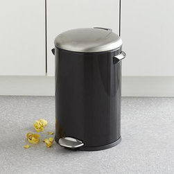 Round Black 3-Gallon Step Can - This high-quality pedal bin in durable, high-gloss black offers a clean and simple solution for just about any setting. Cylinder can with a 12-liter capacity (3 gallons) is outfitted with a noise-free damper system and removable insert. Built-in bag fixer keeps plastic liners out of sight, while the lid stays open for longer chores, cleaning and bag replacement.