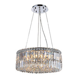 "Worldwide Lighting - Cascade 12 Light Chrome Finish and Clear Crystal 20"" D Round Chandelier Medium - This stunning 12-light Crystal Chandelier only uses the best quality material and workmanship ensuring a beautiful heirloom quality piece. Featuring a radiant chrome finish and finely cut premium grade clear crystals with a lead content of 30%, this elegant chandelier will give any room sparkle and glamour. Dual-mount option for flush or suspension. Worldwide Lighting Corporation is a privately owned manufacturer of high quality crystal chandeliers, pendants, surface mounts, sconces and custom decorative lighting products for the residential, hospitality and commercial building markets. Our high quality crystals meet all standards of perfection, possessing lead oxide of 30% that is above industry standards and can be seen in prestigious homes, hotels, restaurants, casinos, and churches across the country. Our mission is to enhance your lighting needs with exceptional quality fixtures at a reasonable price."