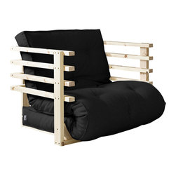 Fresh Futon - Fresh Futon Funk Convertible Futon Chair/Bed, Natural Frame, Black Mattress - Get down in the Funk! You'll be comfortably low in this futon like George Clinton on a tour with Parliament in one of three positions, chair, lounger, and mattress. Available in natural and black frames with 9 twill fabric color options.