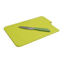 Joseph Joseph - Joseph Joseph Slice & Store Cutting Board, Green - This unique compact chopping board is the ultimate in convenience, with its own removable knife incorporated into the design.