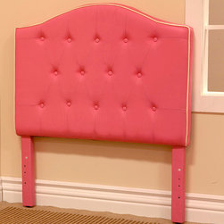 HomePop - Pink Fabric Twin-size Headboard - Add a fun touch to your bedroom decor with this fabric and wood headboard. With an enchanting pink finish and pink button detailing,this twin-size headboard is a beautiful addition to your childs' bedroom.