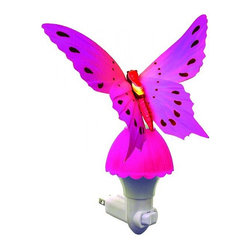"Other - Kids Butterfly Pink Fiber Optic LED Night Light - Enjoy the elegant beauty of an illuminated butterfly with this charming and compact colorful plug-in LED night light. A white finish base holds the butterfly with pink fiber optic strands built into the wings to create a mesmerizing illumination throughout. Operated with an on/off rocker switch and lit by long-lasting LEDs that never need replacing. Elegant plug-in butterfly novelty night light. Bright pink finish with pink fiber optic base. White plastic plug. On/off rocker switch. Includes a 0.2 watt integrated LED array. 7"" high. 4 1/2"" wide. 3"" deep.   Elegant plug-in butterfly novelty night light.  Bright pink finish with pink fiber optic base.  White plastic plug.  On/off rocker switch.  Includes a 0.2 watt integrated LED array.  7"" high.  4 1/2"" wide.  3"" deep."