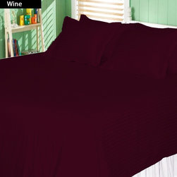 SCALA - 600TC Stripe Wine Full XL Flat Sheet & 2 Pillowcases - Redefine your everyday elegance with these luxuriously super soft Flat Sheet . This is 100% Egyptian Cotton Superior quality Flat Sheet that are truly worthy of a classy and elegant look.