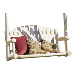 Rustic Cedar - Rustic Swing Sweat w Log Arms & Slat Back - A cozy swing seat built for two.  Enjoy this outdoor swing with its solid cedar construction.  It comes to you in its natural shade but has been sanded down for smoothness.  Cedar naturally repels many insects and can tolerate weather extremes. * Natural cedar constuction. Seat Only. 47 in. W x 26 in. D50 lbs.