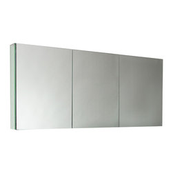 """Fresca - Fresca 60"""" Wide Bathroom Medicine Cabinet w/ Mirrors - Dimensions:  59""""W x 26""""H x 5""""D. 4 Glass Shelves. 3 Mirrored Doors. Recessed Mounting Option. . . . . This 60"""" medicine cabinet features mirrors everywhere.  The edges have mirrors and also on the interior of the medicine cabinet.  The inside features four tempered glass shelves.  Can be wall mounted or recessed into the wall."""