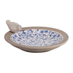 Esschert Design - Esschert Design Aged Ceramic Birdbath - AC10 - Shop for Garden Bird Baths from Hayneedle.com! The Esschert Design Aged Ceramic Birdbath offers eye-catching rustic appeal for humans and their feathered friends highlighted by a charming scrollwork print of blue and white flowers and a stone rim decorated with a crude bird figure. At just over 13 inches in diameter this plate-style birdbath is suitable for almost any garden or patio space.