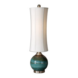 Uttermost - Atherton Blue Buffet Lamp - Designer Carolyn Kinder has a way with metals and ceramics. This distinctively shaped lamp is striking in its proportions and the pop of color beneath the tall drum shade makes it a work of art.