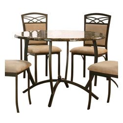 Cramco - Cramco Atlas Round Chocolate Faux Marble Top Dining Table with Espresso Base - Features: