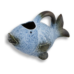 Zeckos - Decorative Blue Ceramic Fish Watering Can 10.5 In. - Add a unique accent to plant stands and tables on your porch or patio with this decorative fish watering can. Made of ceramic, it measures 6 inches tall (including the handle), 10 1/2 inches long, and 6 inches wide. The exterior is hand painted in a beautiful blue and white pattern with brown accents and a glossy glazed finish. This piece makes a great gift for gardeners, or a cute housewarming gift for a friend.