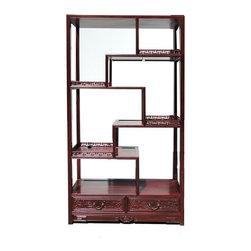 "Golden Lotus - Oriental Rosewood Display Curio Cabinet Divider - This is a traditional Chinese style display , called "" eight treasure cabinet "" in Chinese term. Its variation in height and size on each shelf is good for displaying a variety of items. It is an elegant furniture piece for grand room dividing and vase statues displaying."