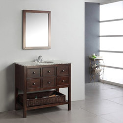 Simpli Home - Simpli Home Burnaby 36-in. Single Bathroom Vanity Multicolor - HHV022C - Shop for Bathroom from Hayneedle.com! Bring a touch of elegance to your bathroom with the Simpli Home Burnaby 36-in. Single Bathroom Vanity. Contemporary style and function match effortlessly in this vanity. Three drawers and a wicker basket offer plenty of storage for bathroom necessities so there's the function. Style-wise this vanity features a beautiful dark brown finish and a unique design which pairs magnificiently with a flecked granite top and undermounted white sink. Durable hardwood construction ensures lasting longevity. Features three pre-drilled holes for a standard 4-inch faucet. An optional Burnaby mirror is available pairing wonderfully with this vanity.About Simpli HomeSimpli Home is a quickly growing manufacturer of finely constructed modern furniture designed to transition perfectly into their customers homes. They produce a wide variety of furnishings from coffee tables to bathroom vanities. Only the strongest most durable materials are used to construct the companys contemporary stylish and functional products.
