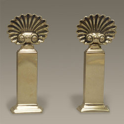 Brass Shell Andirons - This is a spectacular pair of andirons! They're just gorgeous.