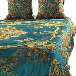 Crewel Fabric World - Crewel Bedding Art Nouveau Turquoise Cotton Viscose Velvet, Euro Sham - Inspiration: From the cathedrals of Rome to the temples of India Art Nouveau has been the cornerstone of the awe inspiring monuments cherished by the world for centuries. The Use of skill and imagination in the creation of aesthetic objects, environments, or experiences that can be shared with others has intrigued human thoughts for centuries. This pattern is our attempt to capture the mystique of Art Nouveau.