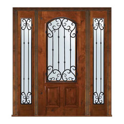 "Prehung Sidelights Door 80 Wood Alder Valencia Arch Lite - SKU#    E06662WV-G-WEAV1-2VBrand    GlassCraftDoor Type    ExteriorManufacturer Collection    Arch Lite Entry DoorsDoor Model    ValenciaDoor Material    WoodWoodgrain    Knotty AlderVeneer    Price    4970Door Size Options      +$percentCore Type    Door Style    Door Lite Style    Arch LiteDoor Panel Style    2 PanelHome Style Matching    Door Construction    EstanciaPrehanging Options    PrehungPrehung Configuration    Door with Two SidelitesDoor Thickness (Inches)    1.75Glass Thickness (Inches)    Glass Type    Double GlazedGlass Caming    Glass Features    Low-E , TemperedGlass Style    Glass Texture    Water , Flemish , Baroque , Fluted , Rain , Glue Chip , ClearGlass Obscurity    Light Obscurity , Moderate Obscurity , Highest Obscurity , No ObscurityDoor Features    Door Approvals    Wind-load Rated , SFI , TCEQ , AMD , NFRC-IG , IRC , NFRC-Safety GlassDoor Finishes    Door Accessories    Weight (lbs)    527Crating Size    25"" (w)x 108"" (l)x 52"" (h)Lead Time    Slab Doors: 7 Business DaysPrehung:14 Business DaysPrefinished, PreHung:21 Business DaysWarranty    One (1) year limited warranty for all unfinished wood doorsOne (1) year limited warranty for all factory?finished wood doors"