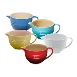 Le Creuset - Le Creuset Stoneware 2-Quart Batter Bowl - A pour spout and helpful handle make this bowl a must for easy pancakes, cakes, and other delicious batter creations. This stoneware bowl's classic styling features raised lettering and rings around the midsection.
