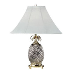 """Waterford Crystal - Waterford Crystal Hospitality Table Lamp Brass 280922500 - Waterford Hospitality Table Lamp  -  During the 18th Century, pineapples were a symbol of welcome and hospitality. Inspired by this, the Hospitality Collection by Waterford features stunning crystal characterized by rich cutting and distinctive scalloped tops; reminiscent of this exotic fruit. This stunning Table Lamp brings radiance to any desk or bedside table. Polished Brass Finish details complement the intricate detailing of the Hospitality pattern's signature cuts, while the Khaki And  Gold Stripe Shade beautifully diffuses the light from an up to 100 watt bulb.  -  Don't Buy From An Unauthorized Dealer  -  Genuine Waterford Crystal  -  Size: 25"""" x 17""""  -  Fully Authorized U.S. Waterford Crystal Dealer  -  Brand New In The Original Waterford Crystal Box  -  Each Piece Is Checked 4 Times To Ensure It Arrives In Perfect Condition  -  Stamped With The Waterford Seahorse Symbol Of Excellence  -  Waterford Crystal Table Lamps Collection  -  Waterford Crystal UPC Number: 91571147218"""