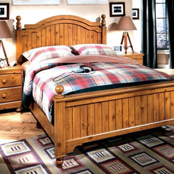 Signature Design by Ashley - Casual Poster Bed w Pine Finish (Queen) - Choose Size: QueenPoster Bed includes Headboard, Footboard, and Rails. Color/Finish: Replicated Pine Grain. Replicated medium distressed country Pine grain. Arched drawers and top rails. Bun feet on cases and beds. Plank patterns on headboards and footboards. Arched top moldings. Side glided drawer system. Left side facing or right side facing storage steps options. Nightstand not included. Full/Queen Headboard: 65 in. W x 4 in. D x 56 in. H. Full/Queen Footboard: 66 in. W x 4 in. D x 31 in. H