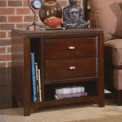 "American Drew - American Drew Tribecca Rectangular End Table with 2 Drawers Multicolor - 912-915 - Shop for Tables from Hayneedle.com! For an end table that looks as good as sarsaparilla tastes go with the American Drew Tribecca Rectangular End Table with 2 Drawers. Yes it's got a root beer finish durable construction and plenty of storage. Quench your table thirst pardner.About American DrewFounded in 1927 American Drew is a well-established leading manufacturer of medium- to upper-medium-priced bedroom dining room and occasional furniture. American Drew's product collections cover a broad variety of style categories including traditional transitional and contemporary. Their collections range from the legendary 18th-century traditional ""Cherry Grove "" celebrating its 42nd year of success to the extremely popular ""Bob Mackie Home Collection "" influenced by the world-renowned fashion designer Bob Mackie. ""Jessica McClintock Home"" features another beloved designer bringing unique style to an American Drew line. American Drew's headquarters are located in Greensboro N.C. Their products are distributed through thousands of independently owned retailers throughout the United States and Canada and around the world."