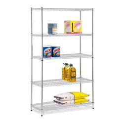 Honey Can Do - Five Tier Chrome Storage Shelves - 800Lb - Adjustable, modular. 800 lb capacity. 18 in.x 4 in. x 72 in.