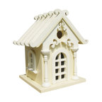 Home Bazaar - Fairy Cottage, Yellow - This charming birdhouse may leave you questioning the existence of garden fairies. It's petite size is perfect for attracting small winged friends to your yard, and a removable back panel makes cleaning a breeze. Just find a magical spot to hang your fairy tale home. The nylon cord is even included!
