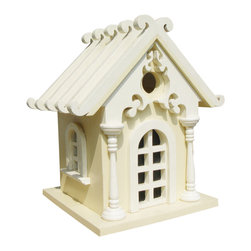 Home Bazaar - Fairy Cottage Birdhouse, Yellow - This charming birdhouse may leave you questioning the existence of garden fairies. It's petite size is perfect for attracting small winged friends to your yard, and a removable back panel makes cleaning a breeze. Just find a magical spot to hang your fairy tale home. The nylon cord is even included!
