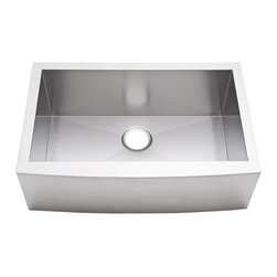 "Lavello - Stainless Steel Farm Sink - 33"" Single Bowl - This stainless steel farm sink features a fabulous design. With straight lines where you need them, to maximize the usable space, and curved lines where you want them, to give subtle accent on the front, it's truly a perfect sink, whether you're buying for a farm or, well, anywhere."