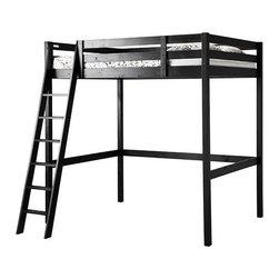 Storå Loft Bed Frame, Black - Once upon a time, my husband built our oldest child a loft bed. She slept in it for nearly five years. My son's current bed is actually my old loft bed from college, but it was modified into a day bed. Needless to say, it's time for an upgrade. Not only is he going from a twin to a full-size mattress, but it is time for a new bed frame too. This piece from Ikea is a great affordable option — that is, if the ceilings in his room aren't too low.