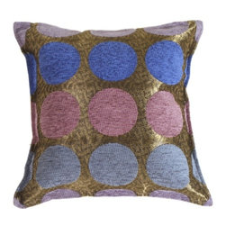 Pillow Decor - Pillow Decor - Multicolor Spheres Blue Pillow - Chenille circles in blue, light blue, mauve and lilac on a silvery black textured background fabric. Suitable for a retro theme, contemporary media room or teen boy's retreat! A nice size for a chair, loveseat or sofa.