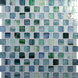 "Glass Tile Oasis - Sea Blue 1"" x 1"" Blue Pool Glossy Glass - Sheet size:  12 3/4"" x 12 3/4"".        Tile Size:  1"" x 1"" and 1/2"" x 1""        Tiles per sheet:  192        Tile thickness:  1/4""                Recycled Components:  25-70%        Sheet Mount: Paper Face     Sold by the sheet     -  These tiles are each a one of a kind work of art. Each of the six styles feature complimentary colors  shot through with transparent layers of contrasting colors  giving the tiles a unique feeling of depth. They are stacked into square and rectangular sizes to create a unique repeating pattern.These tiles are hand-poured and will have a certain amount of variation and variegation of color  tone  shade and size. Additionally  you will notice creases  wrinkles  shivers  waves  bubbles topped off with a natural surface to catch all forms of light for a brilliant effect. These characteristics of natural glass only serve to enhance the final beauty of the installation."