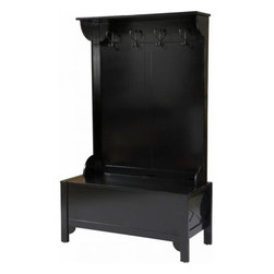 Anna Hall Tree - In dramatic black with period styling, this could fit in a modern or vintage home. It's a bit smaller in size, making it ideal for a smaller entryway.