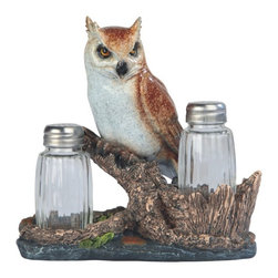 GSC - 6.5 Inch Brown Vigilant Owl on Tree Salt and Pepper Shaker - This gorgeous 6.5 Inch Brown Vigilant Owl on Tree Salt and Pepper Shaker has the finest details and highest quality you will find anywhere! 6.5 Inch Brown Vigilant Owl on Tree Salt and Pepper Shaker is truly remarkable.