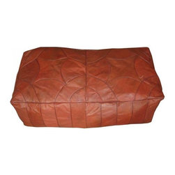 Brown Leather Ottoman Moroccan Bench Footstool -
