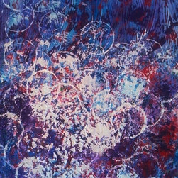 Bubbling Over, 16x20 - The soapy white bubbles can have a transparent look showing the colors of purple, blue and red. These bubbles are flowing over and flooding the canvas with color. I used a palette knife and acrylic paint for the texture and design.