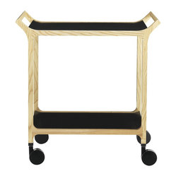 Teatime Trolley, Natural Ash Frame with Black Ash Trays