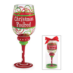 Burton & Burton - Christmas Is Poured Christmas Wine Glass - Decorative Cup - Fun For Holidays - What better way to wind down your Christmas evening than with a delicious glass of wine sipped from one of our fashionable wine glasses? Or perhaps you're looking for the perfect glass for a holiday party. Well, look no further!