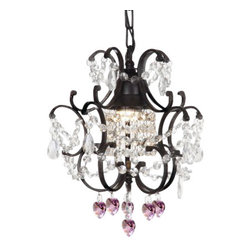 "The Gallery - WROUGHT IRON CRYSTAL MINI CHANDELIER W/ PINK CRYSTAL HEARTS! H14"" x W11"" - WROUGHT IRON CRYSTAL CHANDELIER WITH PINK CRYSTAL HEARTS! 100% Crystal Wrought Iron Chandelier. A Great European Tradition. Nothing is quite as elegant as the fine crystal chandeliers that gave sparkle to brilliant evenings at palaces and manor houses across Europe. This beautiful chandelier from the Versailles Collection has 1 light and is decorated and draped with 100% crystal that capture and reflect the light of the candle bulb. The frame is Wrought Iron, adding the finishing touch to a wonderful fixture. The timeless elegance of this chandelier is sure to lend a special atmosphere anywhere its placed! H 14"" W 11"" 1 LIGHT Shipping 10."