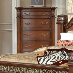 "Coaster - DuBarry Chest - Bring opulence to your bedroom with this ornate styled bedroom collection. This set features intricate carvings and moldings on the bed and mirror. Drawers are constructed with dovetail sides for added strength and smooth full extension drawer glides. Made from mahogany solids and veneers and finished in a rich brown tone.; Traditional Style; DuBarry Collection; Rich Brown finish; Made of Mahogany solids and veneers; Full Extension drawer glides; Felt lined top drawer; No assembly required.; Dimensions: 41.5""L x 19.5""W x 58""H"