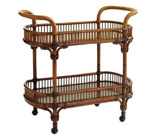 Lexington - Tommy Bahama Home Bali Hai Veranda Bar Cart - Exceptional detail is seamlessly blended with function. The handles are wrapped in rattan and the upper and lower shelves are made of Cocoa shell veneer under a protective coating. The metal ferrules and casters are finished in antique brass.