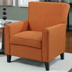 Coaster - 902094 Accent Chair - Dare to make a statement in your room with this vibrant accent chair in orange with legs in a cappuccino finish.