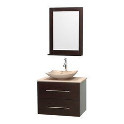 """Wyndham Collection - Centra 30"""" Espresso Single Vanity, Ivory Marble Top, Arista Ivory Marble Sink - Simplicity and elegance combine in the perfect lines of the Centra vanity by the Wyndham Collection. If cutting-edge contemporary design is your style then the Centra vanity is for you - modern, chic and built to last a lifetime. Available with green glass, pure white man-made stone, ivory marble or white carrera marble counters, with stunning vessel or undermount sink(s) and matching mirror(s). Featuring soft close door hinges, drawer glides, and meticulously finished with brushed chrome hardware. The attention to detail on this beautiful vanity is second to none."""